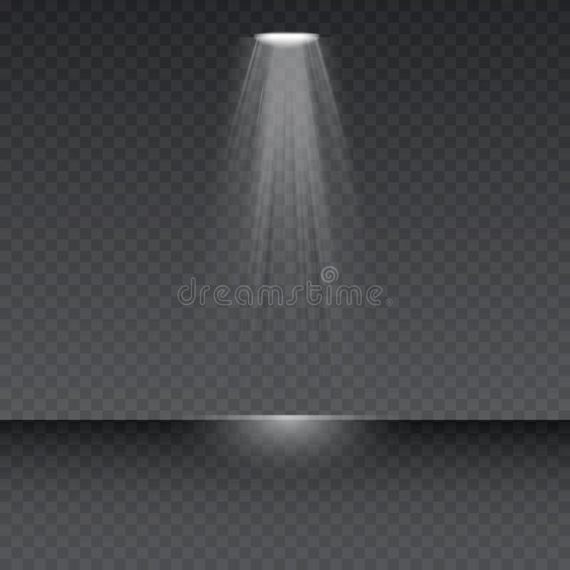 Projetor do vetor O efeito especial do alargamento claro com raios de luz e de mágica sparkles ilustração stock