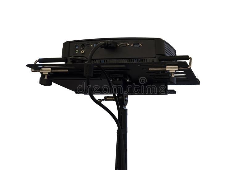 projetor dos multimédios no fundo branco, opinião traseira do projetor preto isolado no fundo branco imagens de stock
