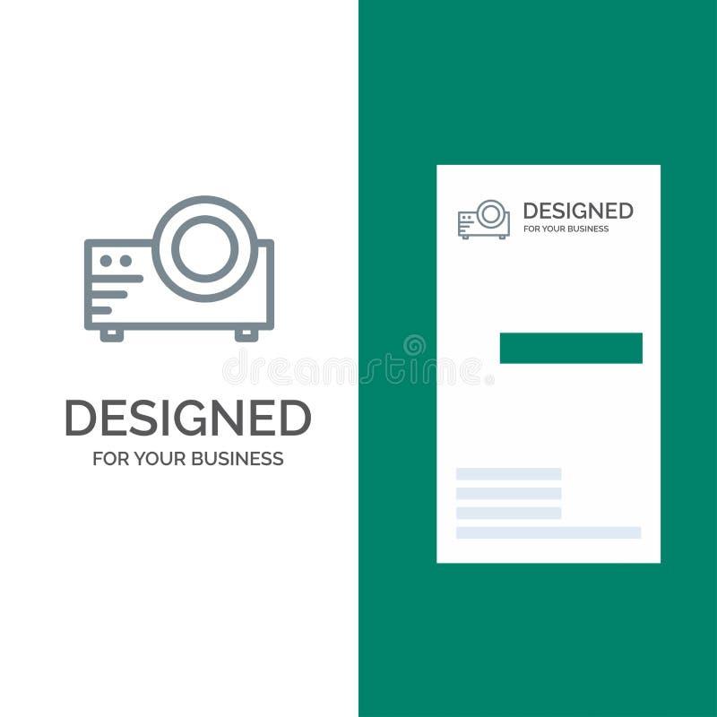 Projetor, filme, filme, multi meios Grey Logo Design e molde do cartão ilustração do vetor