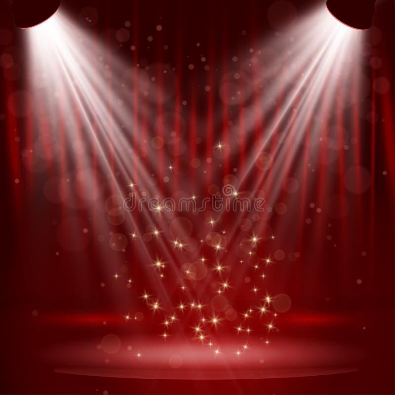 Projetor na cortina da fase com estrelas. ilustração royalty free