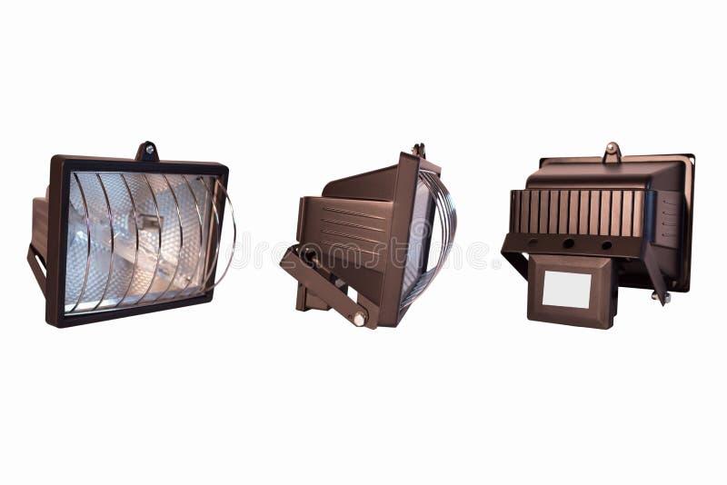 Projetor no fundo branco isolado vista Três-tomada partido imagem de stock