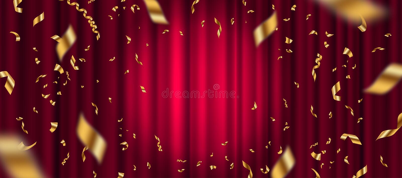 Projetor no fundo vermelho da cortina e em confetes dourados de queda ilustração do vetor