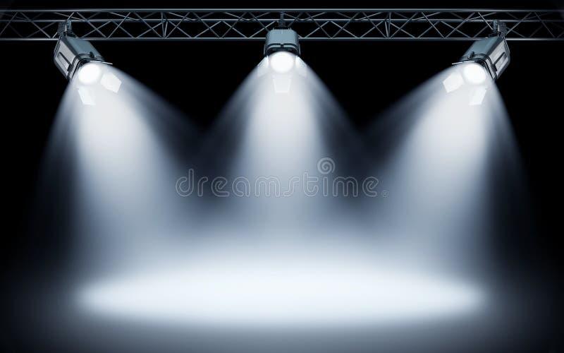 Projetores brilhantes da fase que brilham no fundo escuro ilustração stock