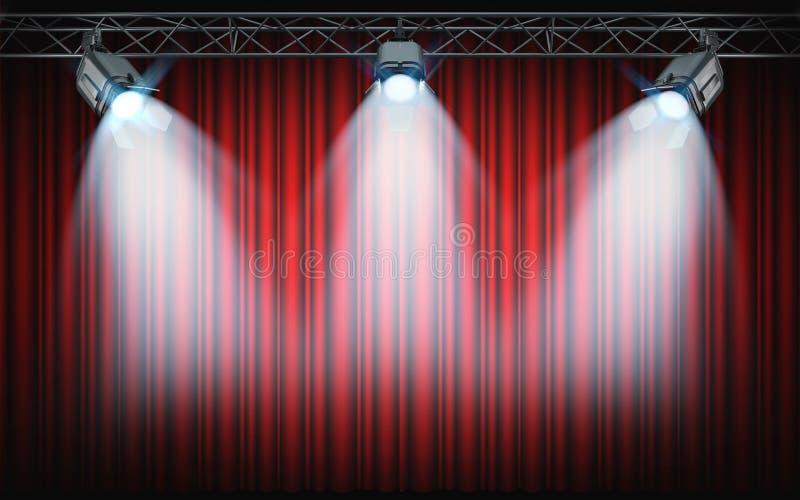Projetores brilhantes da fase que brilham no fundo vermelho da cortina 3d com referência a ilustração stock