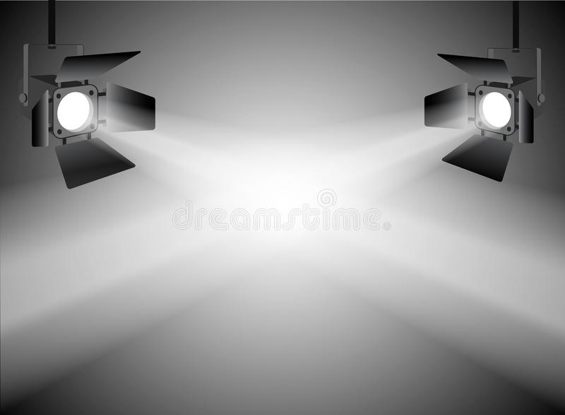 Projetores claros dirigidos no fundo do cinza da fase ilustração do vetor