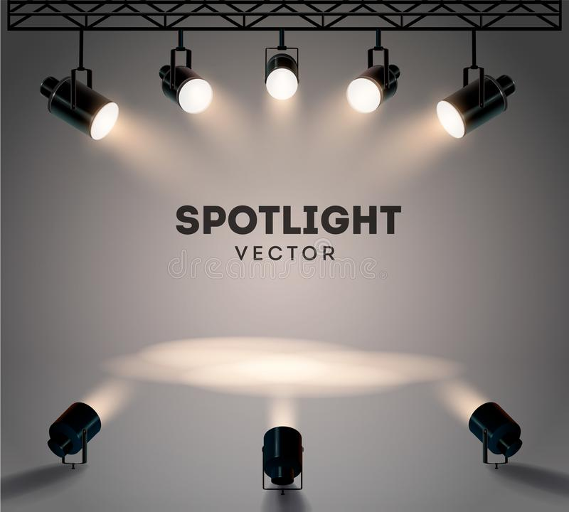 Projetores com grupo de brilho brilhante do vetor da fase da luz branca Projetor iluminado do formulário do efeito, ilustração de imagens de stock