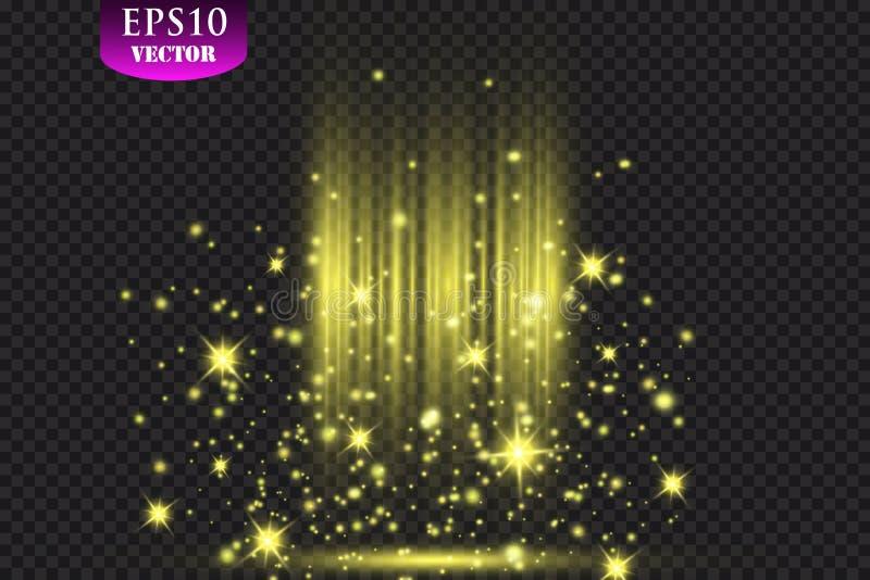 Projetores de brilho na cortina da fase Ilustração do vetor ilustração royalty free