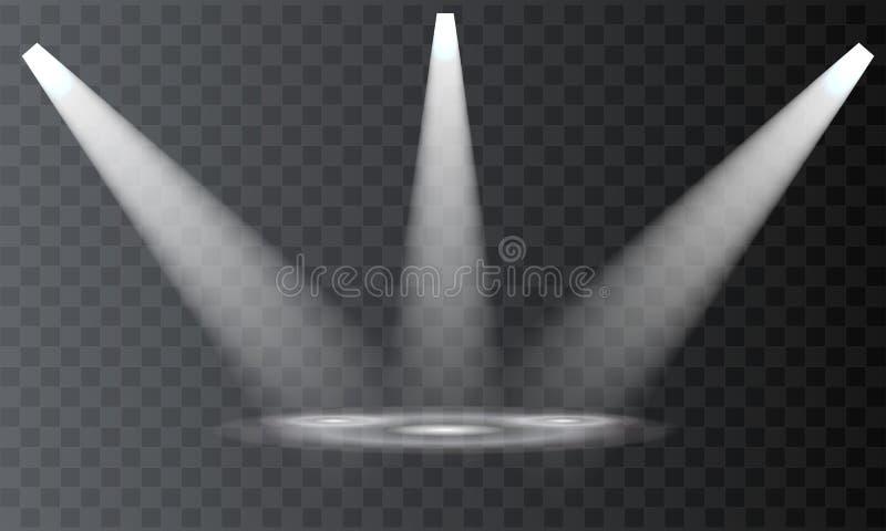 Projetores do vetor cena Efeitos da luz do feixe ilustração royalty free