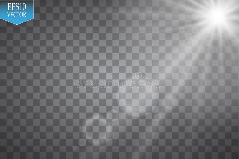 Projetores do vetor cena Efeitos da luz Efeito da luz especial do alargamento da lente da luz solar transparente do vetor Flash d ilustração royalty free