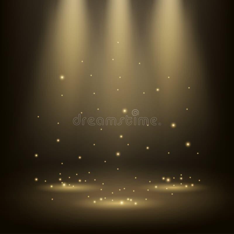 Projetores elegantes que brilham com sparkles ilustração stock