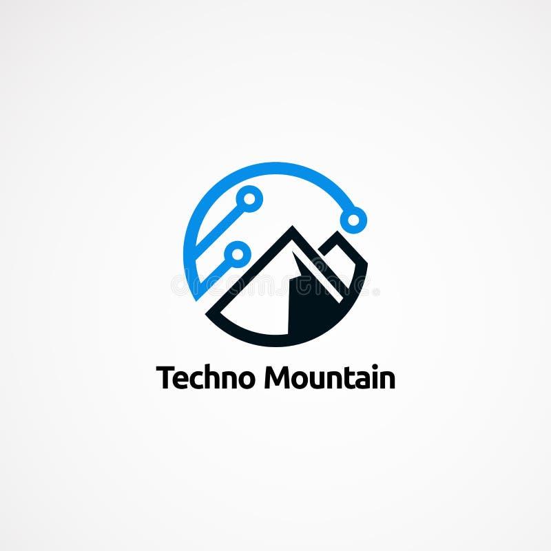 Projetos, ícone, elemento, e molde do logotipo da montanha de Techno para a empresa ilustração royalty free