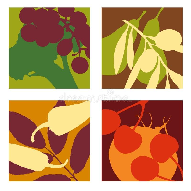 Projetos abstratos modernos das frutas e legumes ilustração stock