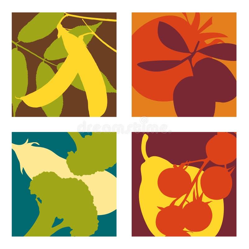 Projetos abstratos modernos das frutas e legumes ilustração do vetor