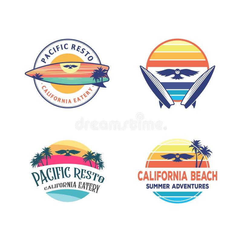 Projetos ajustados do logotipo, inspiração surfando do projeto do logotipo da coruja, com uma praia do por do sol na placa de res ilustração royalty free