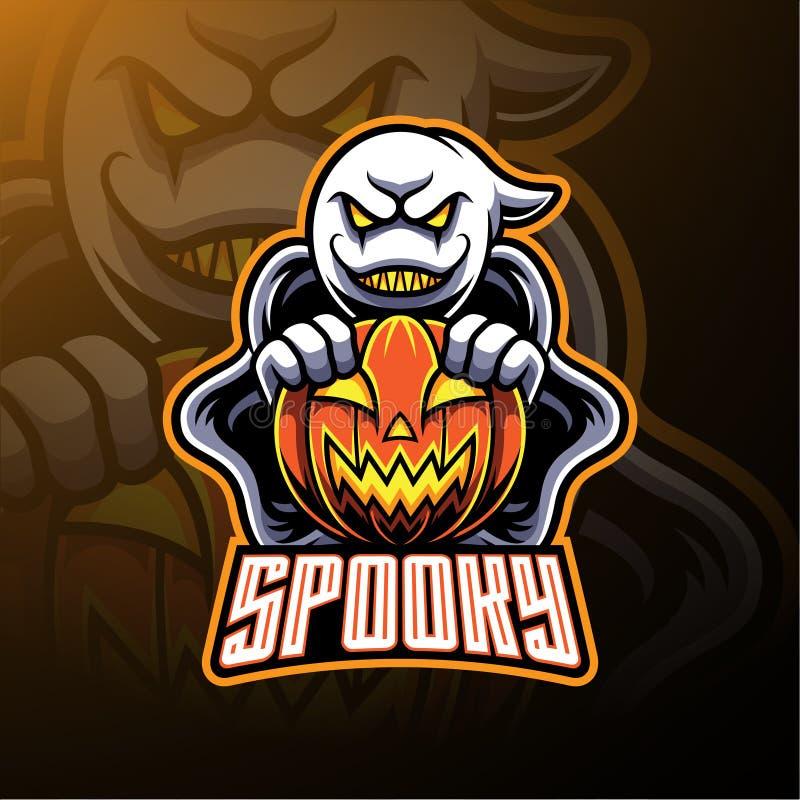 Projetos assustadores da mascote do logotipo do fantasma e da abóbora ilustração royalty free