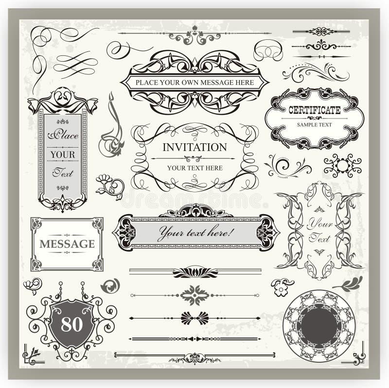 Projetos caligráficos decorativos do vintage ilustração stock