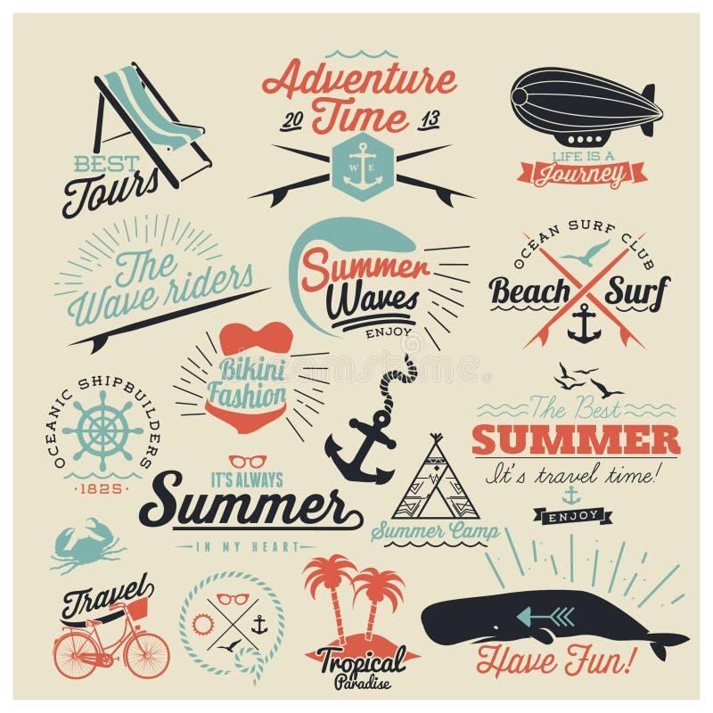 Projetos caligráficos do verão ilustração royalty free