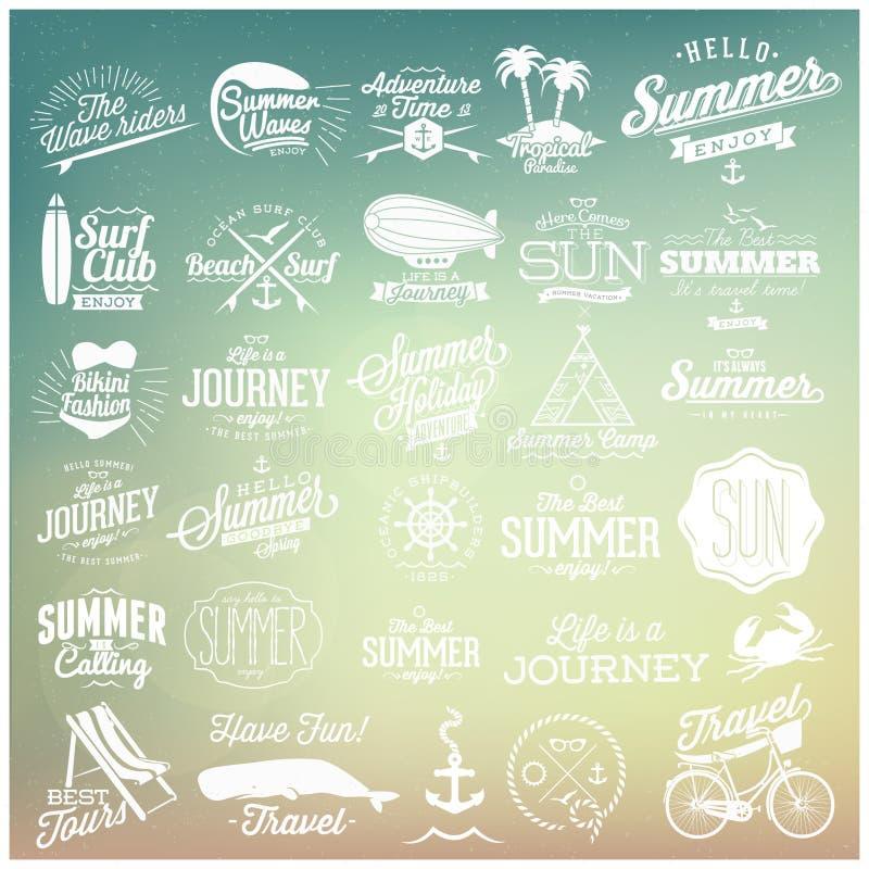 Projetos caligráficos do verão ilustração stock
