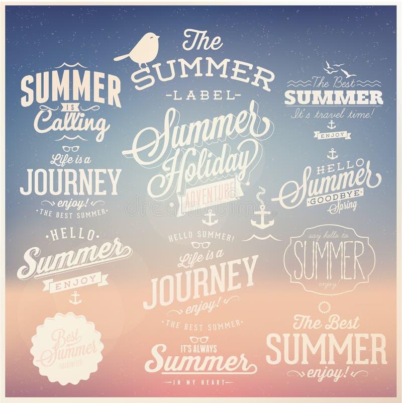 Projetos caligráficos do verão ajustados ilustração stock