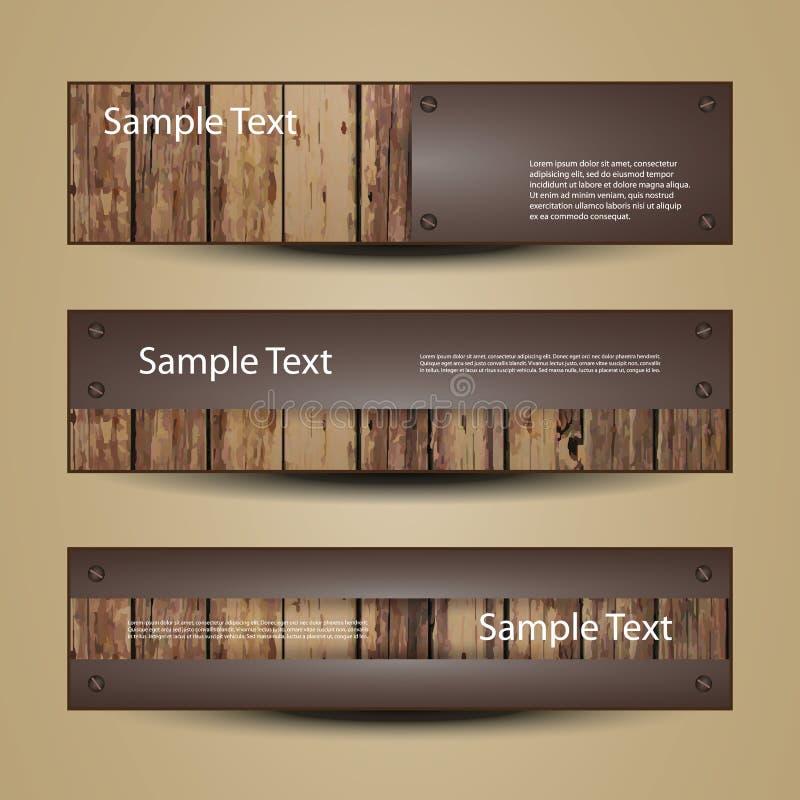 Projetos da bandeira ou do encabeçamento com superfície de madeira ilustração royalty free