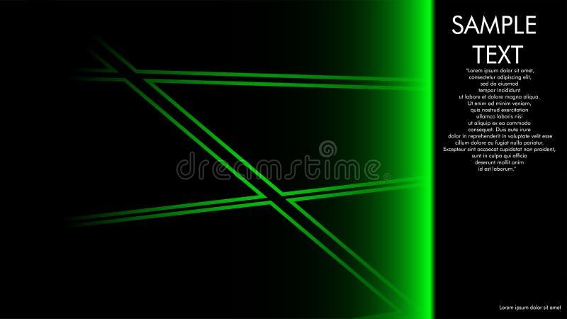 projetos da capa do livro, compartimentos, folhetos, etc. com o conceito da linha verde e o fundo preto e exemplos da escrita ao  ilustração stock