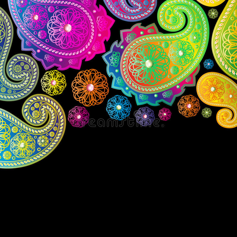 Projetos da cor de Paisley. ilustração stock