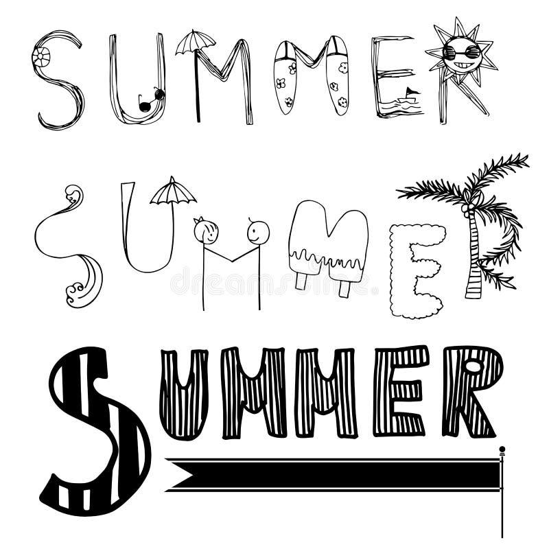 Projetos da fonte do verão da carta branca ilustração royalty free