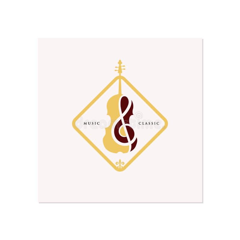 Projetos da inspiração do projeto do logotipo do violino/violoncelo, os clássicos e os luxuosos do logotipo ilustração do vetor