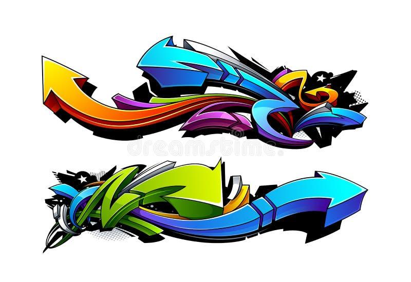 Projetos das setas dos grafittis ilustração royalty free