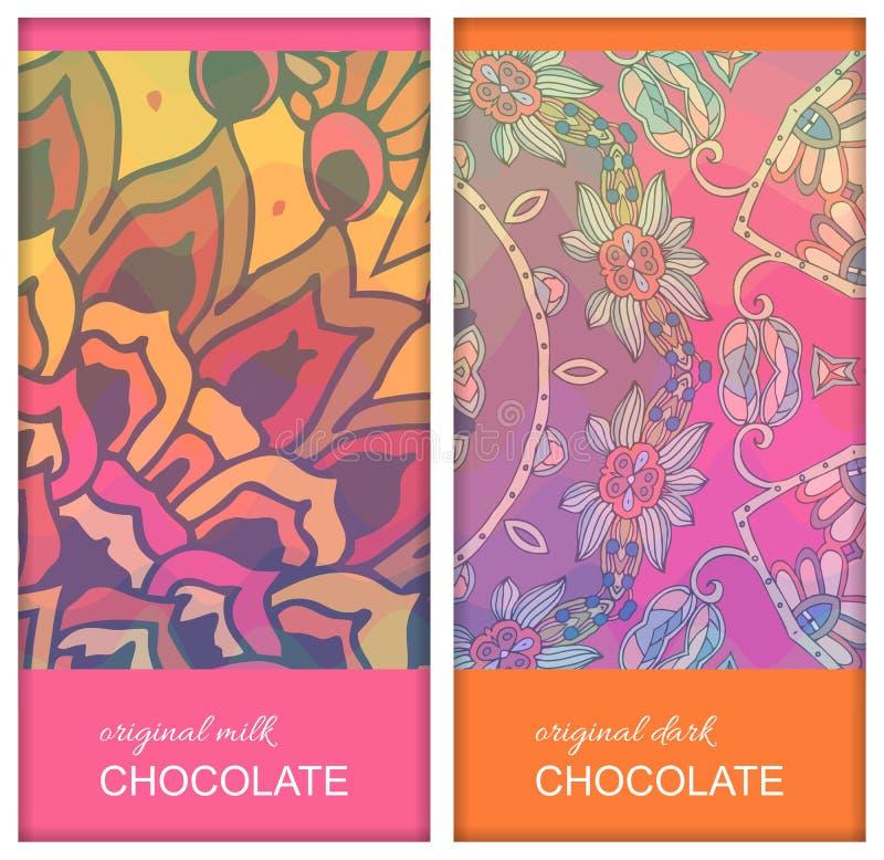 Projetos de pacote da barra de chocolate com o ornamento floral étnico Cole??o bonita Molde de empacotamento editável fácil ilustração do vetor