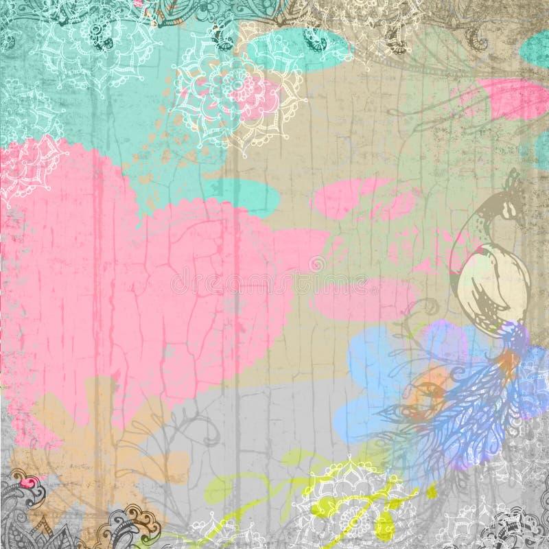 Projetos desvanecidos florais do papel de parede do coração do pássaro de Lotus Flower Mandala Painted Peacock ilustração royalty free