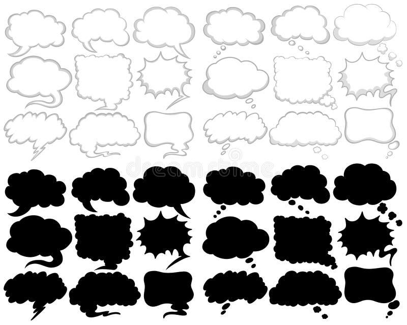 Projetos diferentes da bolha do discurso em preto e branco ilustração stock