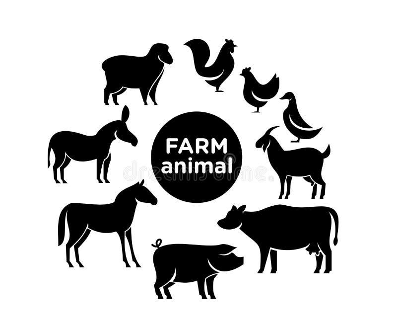 Projetos do ícone do logotipo da exploração agrícola animal imagem de stock
