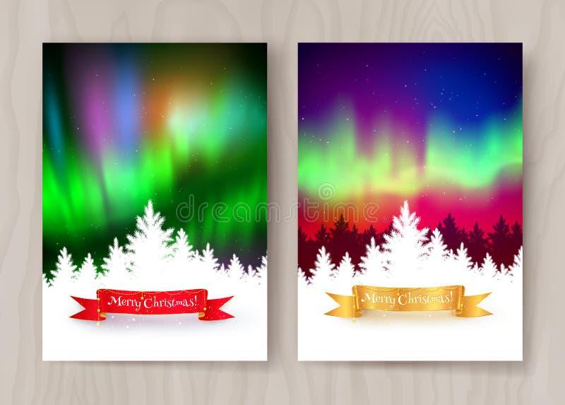 Projetos do cartão do Natal com aurora boreal ilustração royalty free