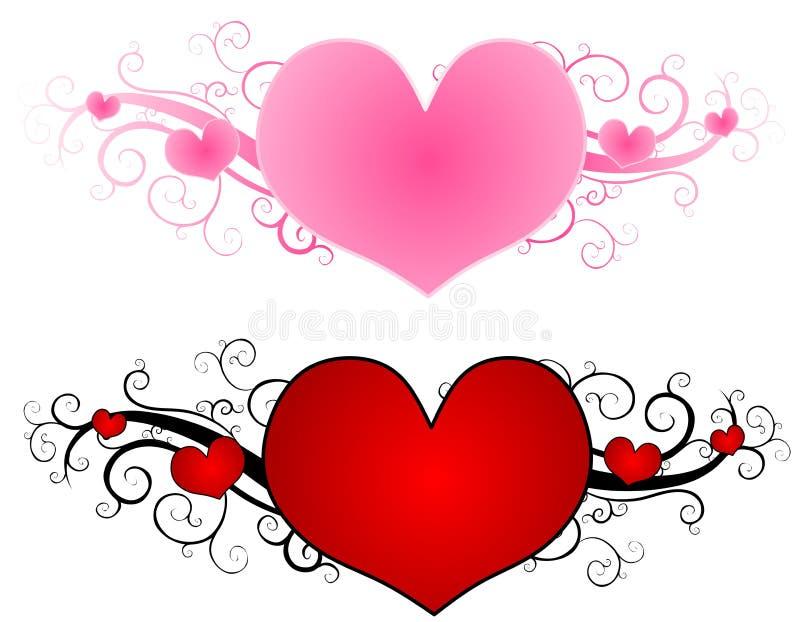 Projetos do coração do dia do Valentim de roda ilustração stock