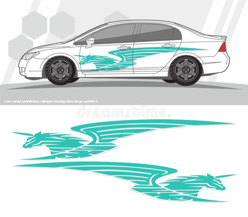 Projetos do jogo dos gráficos do decalque do carro e dos veículos apronte para imprimir e cortar para etiquetas do vinil ilustração royalty free