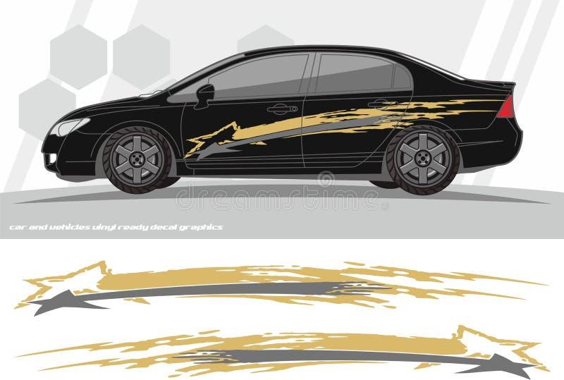 Projetos do jogo dos gráficos do decalque do carro e dos veículos apronte para imprimir e cortar para etiquetas do vinil ilustração stock