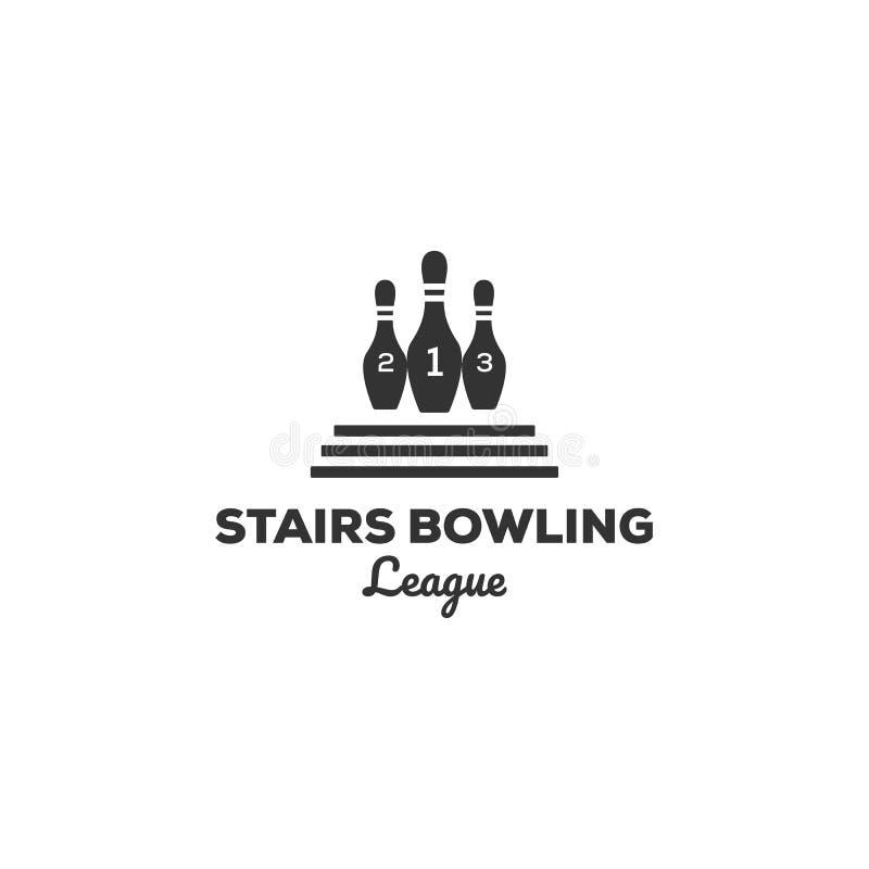 Projetos do logotipo do boliches do vintage com escadas ilustração royalty free