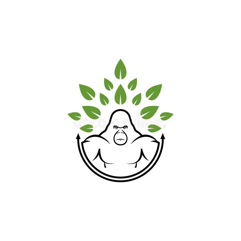 Projetos do logotipo do conceito do gorila e da folha ilustração royalty free