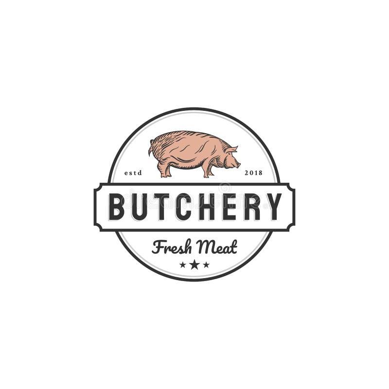 Projetos do logotipo da carne de porco para empresas do açougue ilustração stock