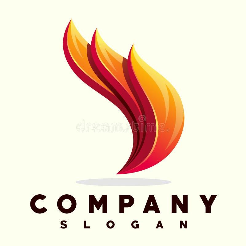 Projetos do logotipo da chama do fogo ilustração stock