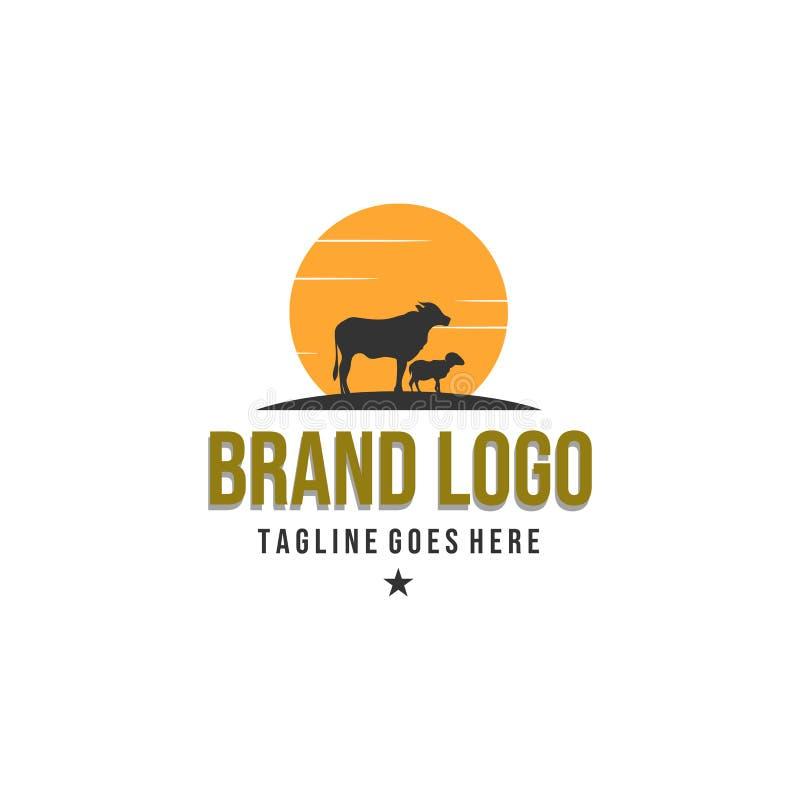 Projetos do logotipo da exploração agrícola animal, logotipo do vintage ilustração do vetor