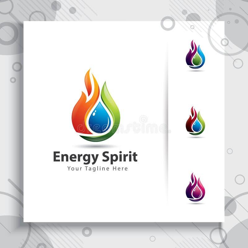 projetos do logotipo do vetor do espírito da energia do fogo 3d para a empresa da indústria ilustração do vetor