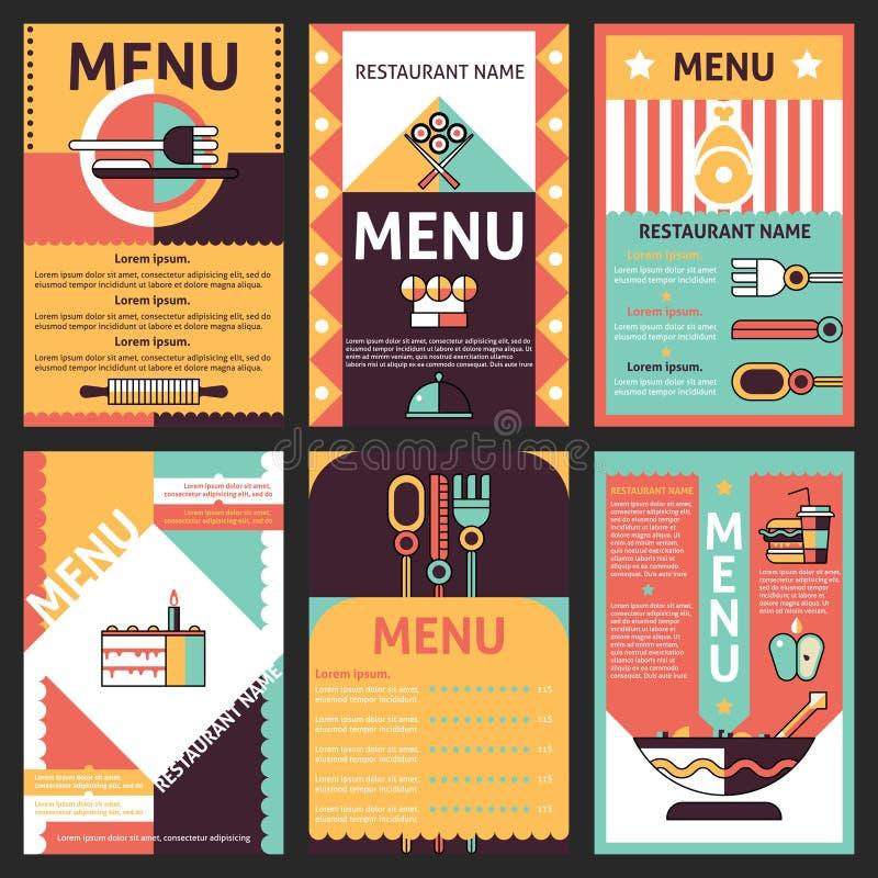 Projetos do menu do restaurante ilustração do vetor