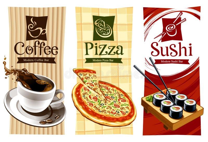 Projetos do molde de bandeiras do alimento ilustração stock