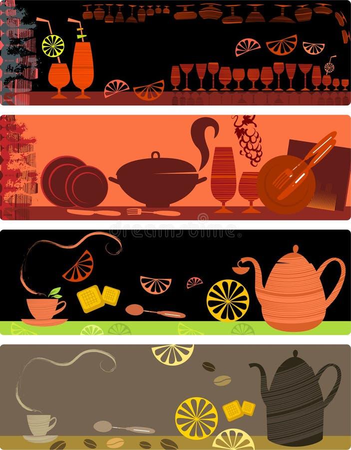 Projetos do molde de bandeiras do café ilustração do vetor