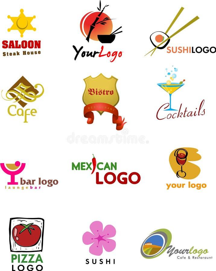 Projetos do molde do logotipo para a cafetaria e o resta
