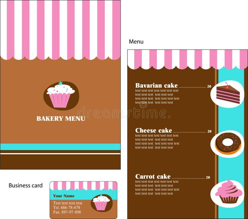 Projetos do molde do menu da padaria e do restaurante ilustração do vetor