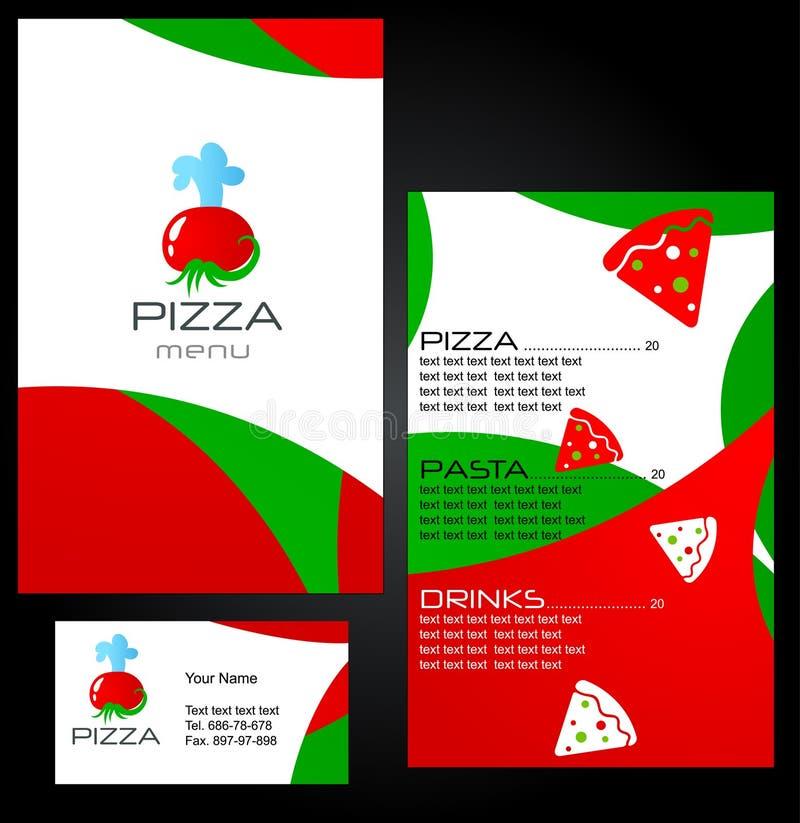 Projetos do molde do menu da pizza ilustração royalty free