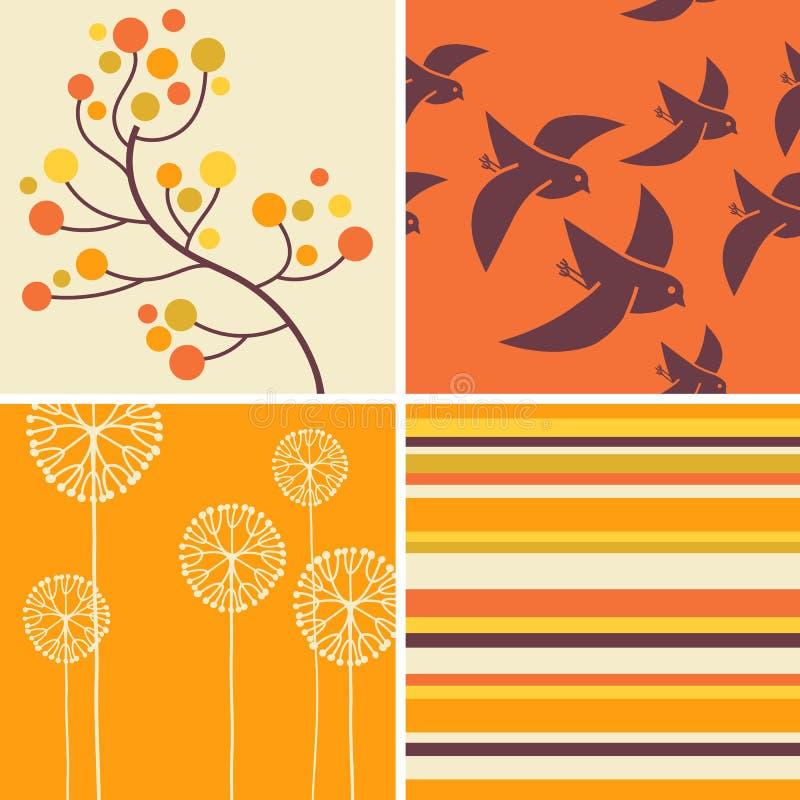 Projetos do outono de pássaros retros, flores, listras ilustração do vetor